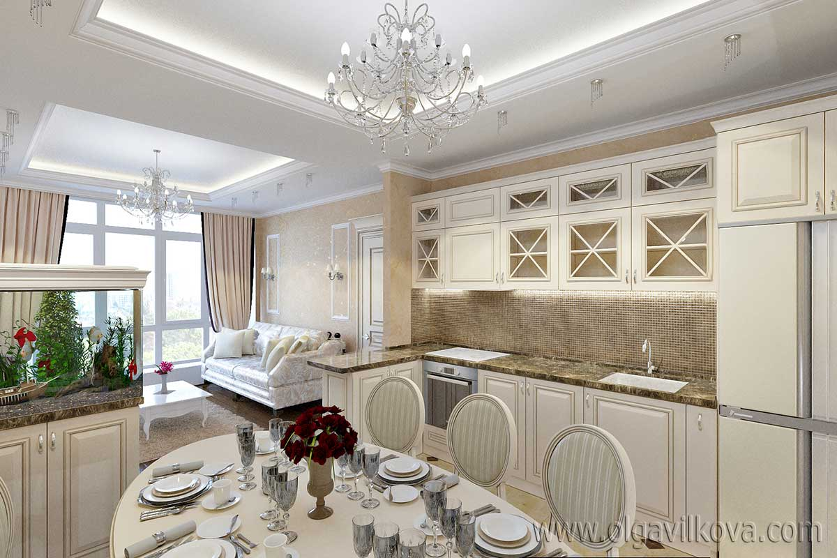 """Дизайн интерьера кухни в классическом стиле. """"ЖК Аркадия хиллс"""""""